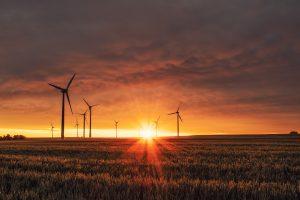 Windkraftwerke im Sonnenaufgang